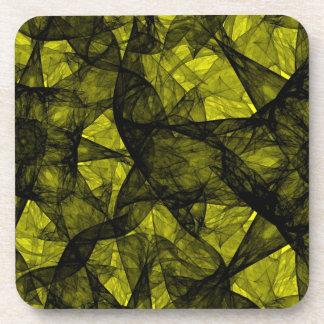Cork Coaster fractal art black and yellow