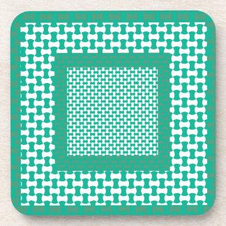 Cork Coaster or Table Mat, Emerald Green Geometric