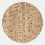 Cork oak pattern round stickers