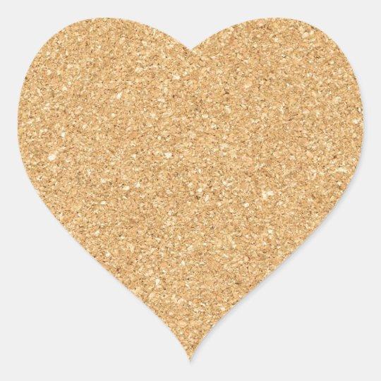cork paper heart sticker