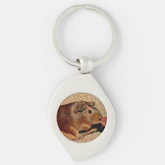 Corkboard Look Guinea Pig Silver-Colored Swirl Key Ring