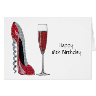 Corkscrew Heel Red Stiletto and Champagne Glass Card