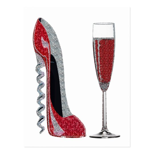 Corkscrew Heel Red Stiletto and Champagne Glass Postcard