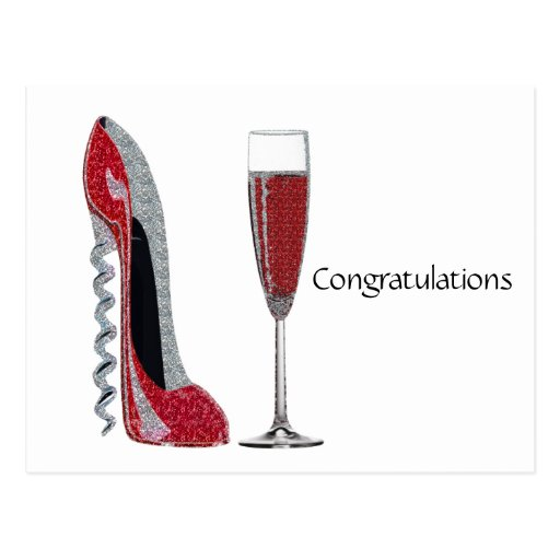 Corkscrew Heel Red Stiletto and Champagne Glass Postcards