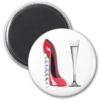 Corkscrew Heel Red Stiletto Shoe Champagne Flute 6 Cm Round Magnet
