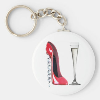 Corkscrew Heel Red Stiletto Shoe Champagne Flute Key Ring