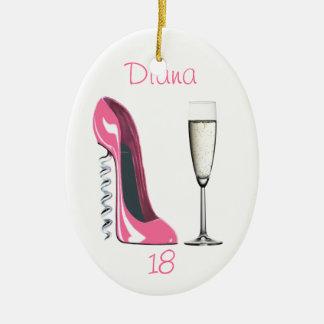 Corkscrew Pink Stiletto and Champagne Ornament