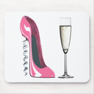 Corkscrew Pink Stiletto Shoe and Champagne Glass Mouse Mat