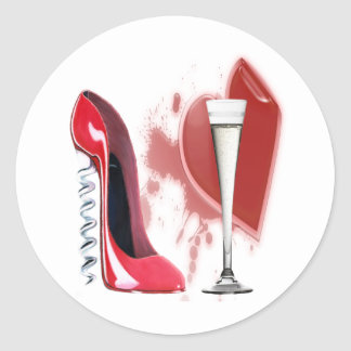 Corkscrew Red Stiletto and Bleeding Heart Design Classic Round Sticker