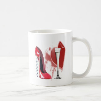 Corkscrew Red Stiletto and Bleeding Heart Design Coffee Mug