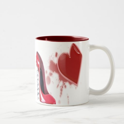 Corkscrew Red Stiletto and Breaking Heart Coffee Mug