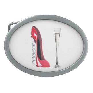 Corkscrew Red Stiletto and Champagne  Belt Buckle