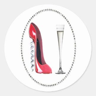 Corkscrew Red Stiletto and Champagne Flute Design Classic Round Sticker
