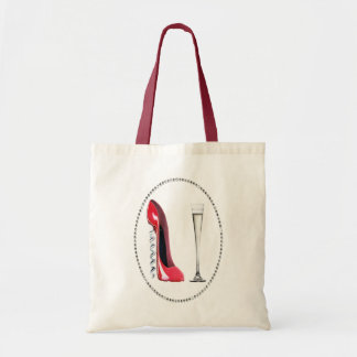 Corkscrew Red Stiletto and Champagne Flute Gifts Tote Bag
