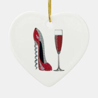 Corkscrew Red Stiletto and Champagne Glass Art Ceramic Heart Decoration