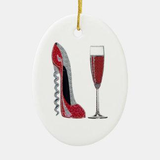 Corkscrew Red Stiletto and Champagne Glass Art Ceramic Oval Decoration