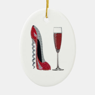 Corkscrew Red Stiletto and Champagne Glass Art Christmas Ornament