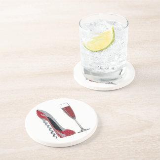 Corkscrew Red Stiletto and Champagne Glass Art Beverage Coaster