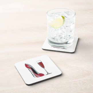 Corkscrew Red Stiletto and Champagne Glass Art Drink Coaster