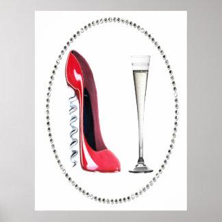 Corkscrew Red Stiletto and Champagne Poster
