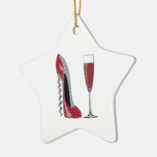 Corkscrew Red Stiletto and Red Wine Art Christmas Ornament