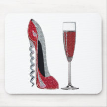 Corkscrew Red Stiletto and Red Wine Art Mousepad