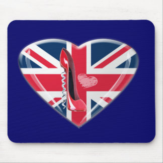 Corkscrew Red Stiletto and Union Jack Mouse Mat
