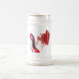 Corkscrew Red Stiletto Shoe and Bleeding Heart Beer Stein