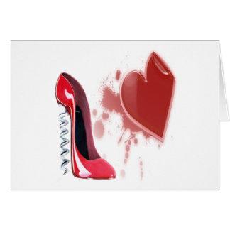Corkscrew Red Stiletto Shoe and Bleeding Heart Card