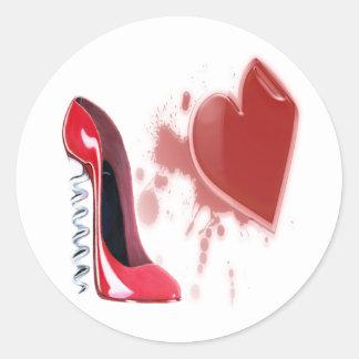 Corkscrew Red Stiletto Shoe and Bleeding Heart Classic Round Sticker