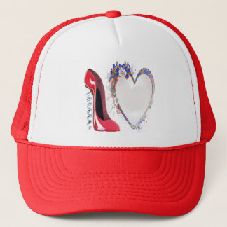 Corkscrew Red Stiletto Shoe and Floral Heart Trucker Hat