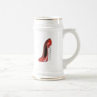 Corkscrew Red Stiletto Shoe Beer Stein