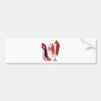 Corkscrew Red Stiletto Shoe, Champagne and Heart Bumper Sticker