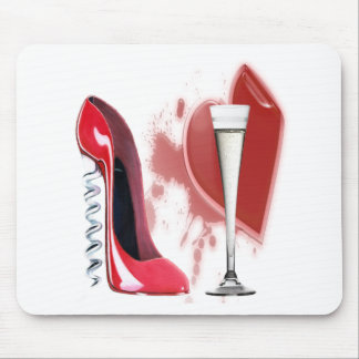 Corkscrew Red Stiletto Shoe, Champagne and Heart Mouse Mat