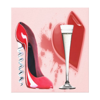Corkscrew Red Stiletto Shoe, Champagne Flute and H Stretched Canvas Print