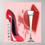 Corkscrew Red Stiletto Shoe, Champagne Flute and H Poster
