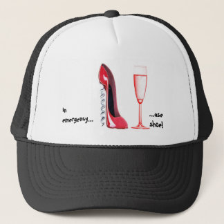 Corkscrew Shoe and Champagne Glass Trucker Hat