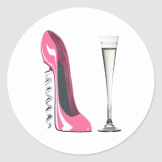 Corkscrew Stiletto and Champagne Flute Classic Round Sticker