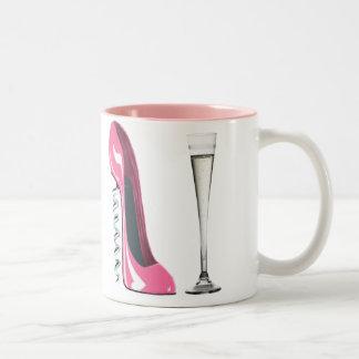 Corkscrew Stiletto and Champagne Flute Two-Tone Coffee Mug