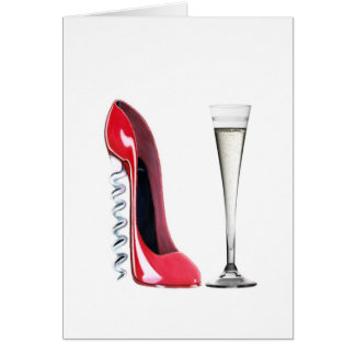Corkscrew Stiletto Shoe and Champagne Flute Glass Card