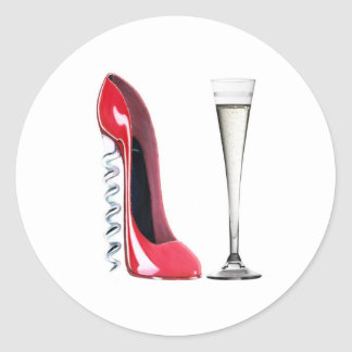 Corkscrew Stiletto Shoe and Champagne Flute Glass Classic Round Sticker