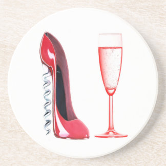 Corkscrew Stiletto Shoe and Champagne Glass Coaste Beverage Coasters