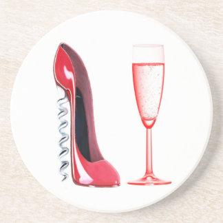 Corkscrew Stiletto Shoe and Champagne Glass Coaste Coaster