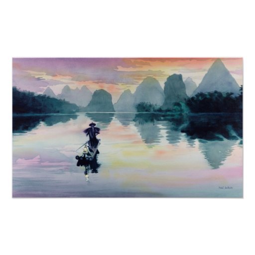 """Cormorant Fisherman"" China Watercolor Poster"