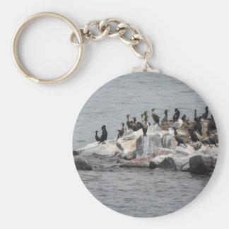 cormorant on river key ring