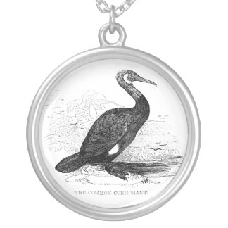 Cormorant Vintage Bird Wildlife Drawing Silver Plated Necklace