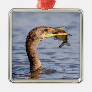 Cormorant with a fish Silver-Colored square decoration