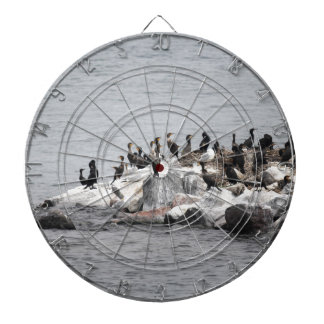 Cormorants on the island of the river dartboard