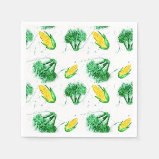Corn and broccoli watercolor print with splashe paper napkin