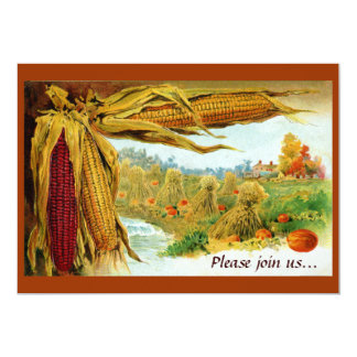 Corn and Pumpkins Vintage Thanksgiving Card